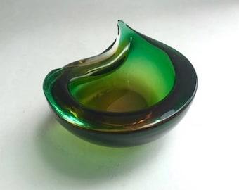 Gorgeous Green Glass Teardrop Bowl
