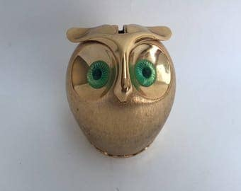 Chic Napier Brass Owl Bank with Green Eyes