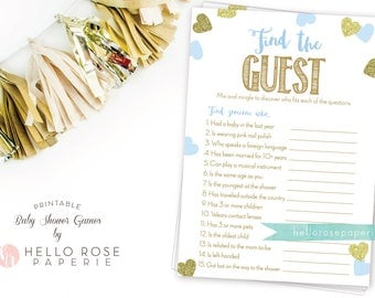 Find the Guest Pink and Gold Baby Shower Game Girl . Icebreaker Baby Shower Game . Printable Instant Download . Blue and Gold Baby Shower