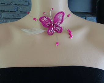Fuchsia feather yarn hypoallergenic available Butterfly Necklace on wedding