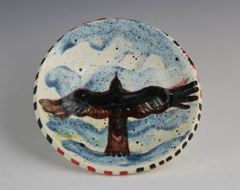 Raven Soaring in Clouds, Crow, Blackbird Ceramic Art Pottery by Arizona Clay Artist, Karlene Voepel