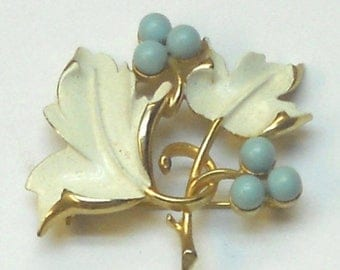 ON SALE Vintage Brooch Enameled Leaf Design with Turquoise Color Beads by Sarah Coventry