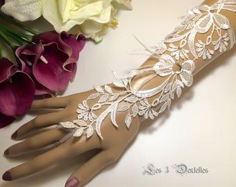 White feather lace rhinestone wedding mitten 1 * 3 lace *.