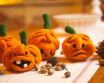 Needle Felt Fibre Art Pumpkins.