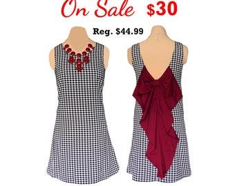Alabama Houndstooth + Crimson Big Bow Dress