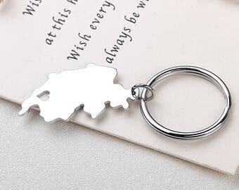 I heart Switzerland Keychain - Switzerland Keyring - Map Jewelry - Country Charm - Map keychain