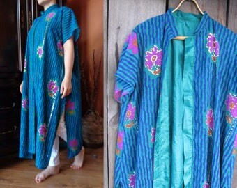 Vintage Kaftan Dress; Oversized Long Ethnic Dress with Flowers & Sequins; Gorgeous Handmade Dress; Vivid Green / Blue / Fuchsia Boho Dress