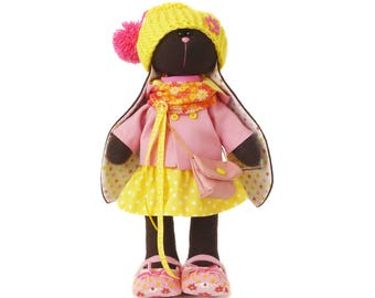 Easter bunny doll, Plush toy, fabric doll, unique gift for girl, small bear. In stock in the USA