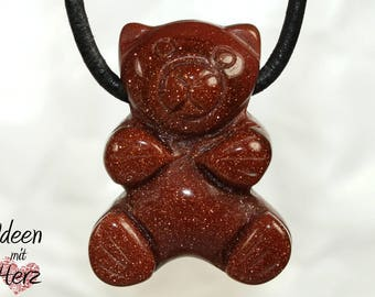 Gold sandstone (bear) on leather strap / cotton cord (necklace)