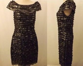 80s Cachet Black Silver Party Dress Size 4