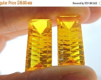 tITLE Matched Pair AAA Beautiful Yellow Quartz Concave Cut Baguettes Size 24*10 MM