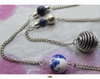Maxi necklace Sodalite porcelain and Tibetan silver on silver metal beads