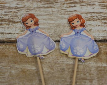 Sofia the First, cupcake toppers, Princess cupcake picks, Birthday cupcake toppers, princess birthday