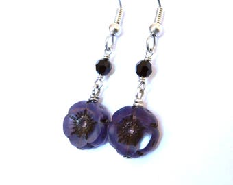 Dark violet flat flower earrings, Czech glass with black crystal, antiqued silver, dangly wirewrapped, winter dark colors bead jewelry