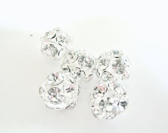 PEARL SILVER INSCRUTEE CRYSTAL 15 MM RHINESTONE BALL