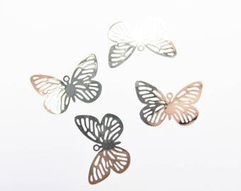 METAL ENGRAVED END LACQUER 14/25 MM SILVER METAL BUTTERFLY PENDANT