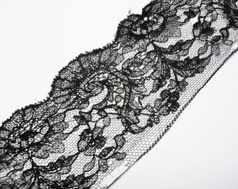 LACE RUFFLE CHANTILLY FRENCH LACE SILK BLACK FINE 7 CM
