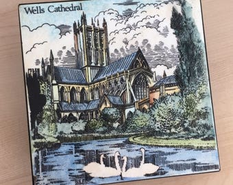 Wells Cathedral Souvenir Ceramic Tile Trivet