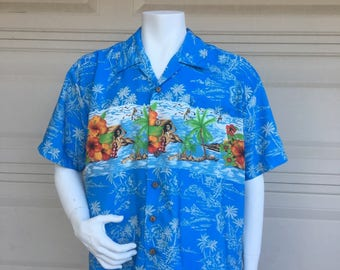 Hawaiian Shirt Vintage Tropical Print Shirt Hawaiian Islands Extra Large