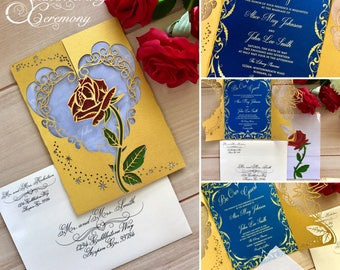 Beauty And The Beast Inspired Wedding Invitation Laser Rose Magic Cut Gatefold Princess Party Unique