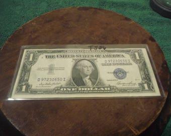 1935 E Silver Certificate Blue Seal One Dollar Bill- TJ56