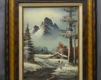 Save 15% Old vintage artist signed original mountain landscape painting