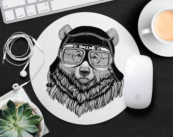 Teddy Bear Mouse Pad Animal in Glasses Cute Mouse Mat Funny Mouse Pad Kids MousePad Hipster Mouse Mat Animal Lover Gift Cat Desk Accessories