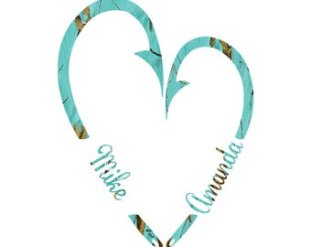 Fish Heart Couples  Teal Camo decal