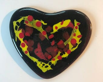 Valentines Heart, Coaster,Paperweight,Chinese New years, bridesmaid gift,fused glass,Trivet,Dishware,Display,Birthday Present,Inspirational