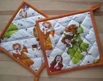Hot pad, oven mitt, kitchen accessory, quilted, Loralie Designs® 'Sing It Sister' with orange trim, housewarming gift,  co-worker gift