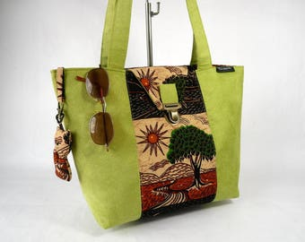 "Handbag shopping bag in suede and cotton patterned ""Tree of life"""