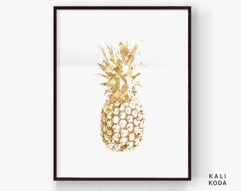 Gold Pineapple Print, Top Selling Items, Most Popular, Tropical Botanical, Top Sellers, Nursery Art, Wall Art, Printable Digital Download