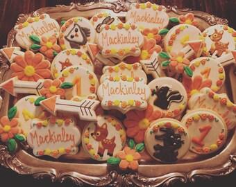 1st Birthday Cookies ONE DOZEN Bambi/Woodland Theme