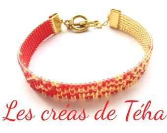 Lovely gold and Red bracelet woven with miyuki beads