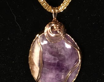 Dog tooth Amethyst Wire-Wrapped Pendant in 12K GF wire
