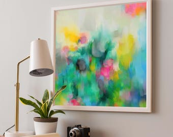 Green Wall Art, Abstract Art, 'Prism II' by Corinne Melanie Paper Print, Modern Poster, Contemporary Art