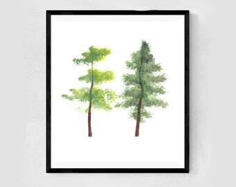 Twins by Essie Lee, original artwork, painting, wall decor, modern, minimal, nature, trees, green, minimalist, boho