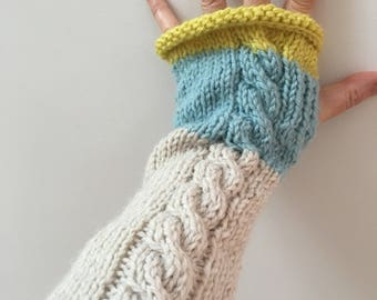 Long Alpaca Fingerless Gloves with Cable. Tricolour. Chunky Knit Fingerless Gloves. Extra Long Gloves. Long Armwarmers. Wristwarmers.