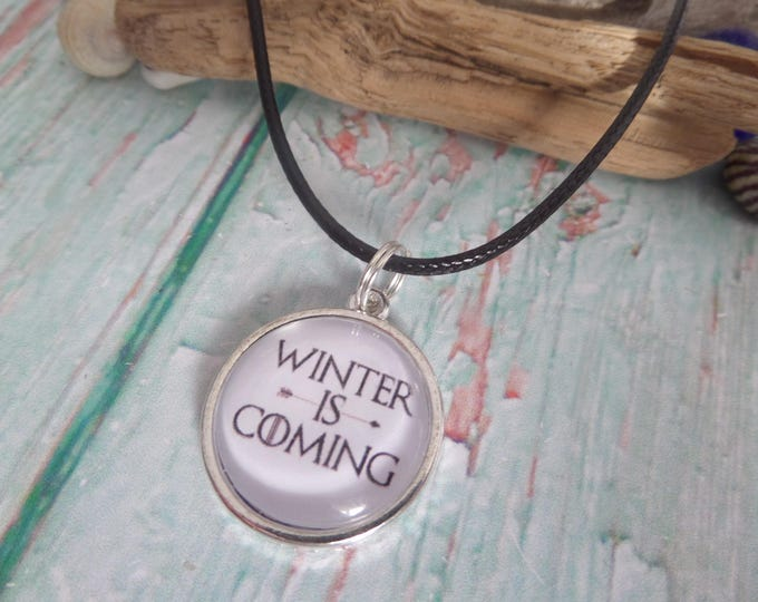 Games necklace, thrones gift, thrones fan gift, tv fandom gift, xmas stocking, quote necklace, winter is coming, sandykissesuk