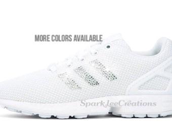 Adidas Originals ZX Flux Custom Crystal Adidas Sneakers Bling Adidas Shoes
