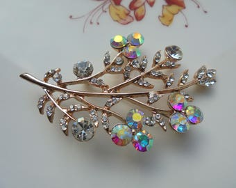 Beautiful Vintage Rhinestone Flower Spray Brooch Circa 1950s Gifts For Her