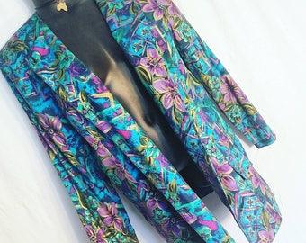 Vintage Colorful Plus Size Blazer Top Size 1X 2X