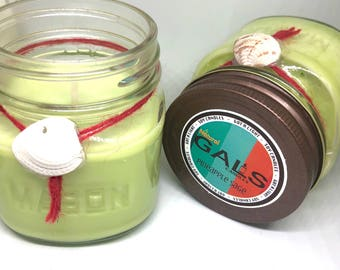 Pineapple Sage 8oz Mason Jar Soy Wax Organic Candle