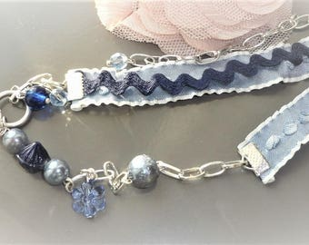 romantic bracelet silver and blue glass bead, Pearl bead