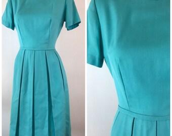 Vintage 50s Aqua Day Dress Bouffant Short Sleeve Pleated Skirt Robins Egg Blue