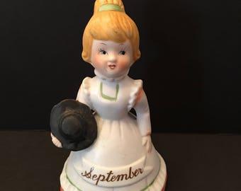September Bell Figurine ~ White Dress ~ Black Hat ~ Angel Bell ~ Cake Topper ~ Birthday ~ Vintage