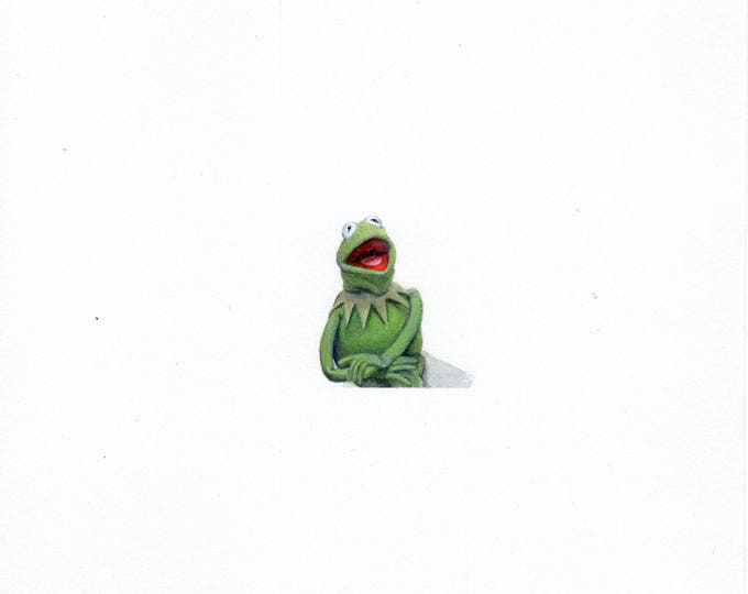"Print of miniature painting of Kermit The Frog. 1 1/4 x 1 1/4"" print of Kermit The Frog painting on 5"" square german etching paper"