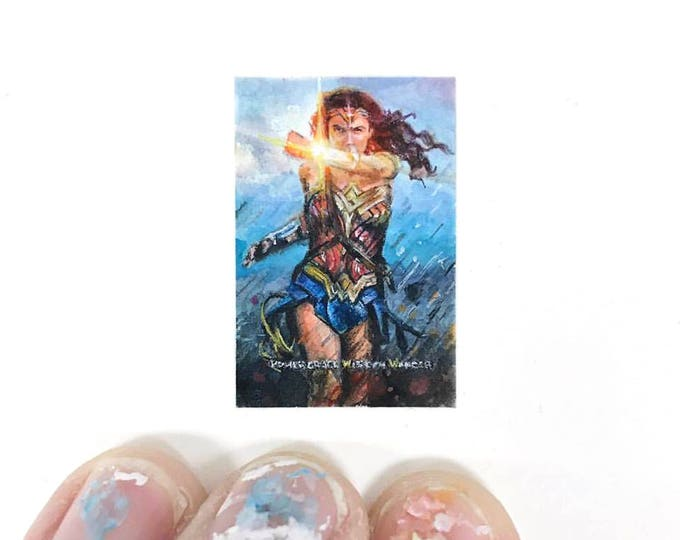 Print of miniature watercolor painting of Wonder Woman.  giclee print of superhero Wonder Woman