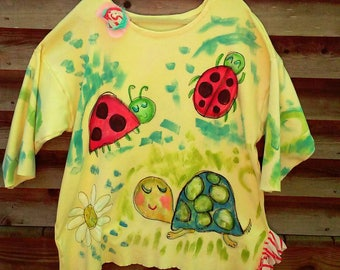 Hand Painted Art Tunic Any Theme Made to Order KellyJacksonDesign Plus Size Ladies Funky Comfy Clothes