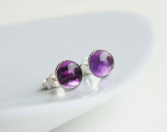 Purple rainbow fluorite gemstone 6mm sterling silver studs earrings